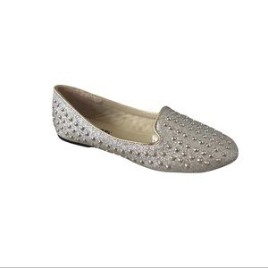 NWOB Silver Glitter and Studded Loafer